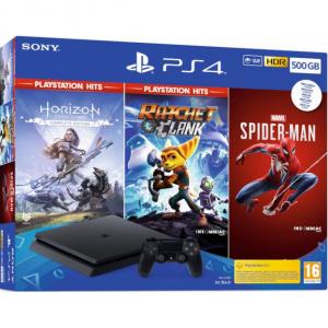 CONS. PS4 SLIM 500GB+HORIZON ZERO+RACHET+SPIDERMAN 1