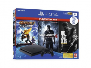 CONS. PS4 SLIM 1TB +RATCHET&CLAN+LAST OF US+UNCHAR 1