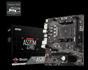 PLACA BASE AM4 MSI A520M-A PRO MATX/USB 3.1/HDMI/VGA 1