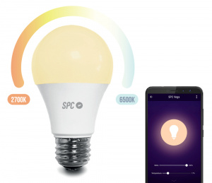 BOMBILLA LED INTELIGENTE SPC VEGA 1050 LM BLANCA REGULABLE 2700K-6500K E27 WIFI 1