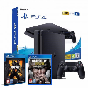CONS. PS4 SLIM 1TB + COD BLACK OPS 4 + COD WW2 1