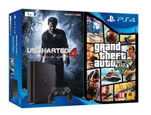 CONS. PS4 SLIM 1TB + GTA V + UNCHARTED 4 1