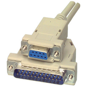 CABLE SERIE NULL MODEM DB9H/DB25M  2M 1