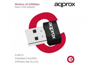 ADAPTADOR WIFI APPROX AC600N NANO 1