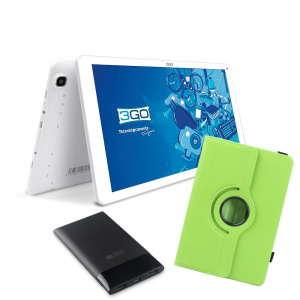 BUNDLE TABLET 3GO GT10K3IPS + TRAV5 + FUNDA VERDE 1