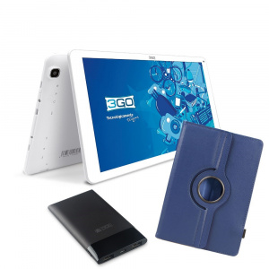 BUNDLE TABLET 3GO GT10K3IPS + TRAV5 + FUNDA AZUL 1