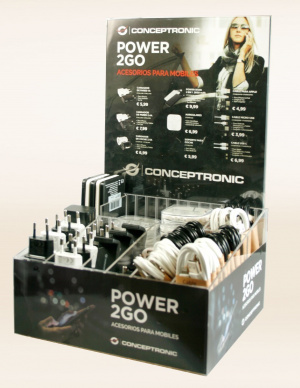 DISPLAY ACRILICO POWER2GO CON 70 ARTICULOS 1