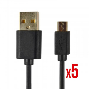 CABLE POWER2GO USB-A A MICRO-USB 1M NEGRO PACK 5 1