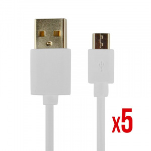 CABLE POWER2GO USB-A A MICRO-USB 1M BLANCO PACK 5 1