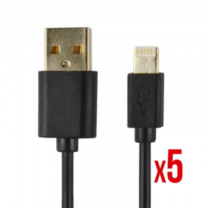 CABLE POWER2GO CONECT LIGHTNING A USB NEGRO PACK 5 1