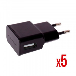 CARGADOR 5V USB POWER2GO PARED NEGRO PACK 5 1