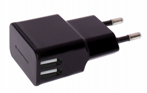 CARGADOR 5V 2XUSB POWER2GO PARED 2A NEGRO 1