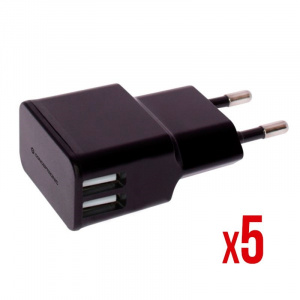 CARGADOR 5V 2XUSB POWER2GO PARED 2A NEGRO PACK 5 1
