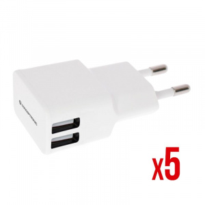 CARGADOR 5V 2XUSB POWER2GO PARED 2A BLANCO PACK 5 1