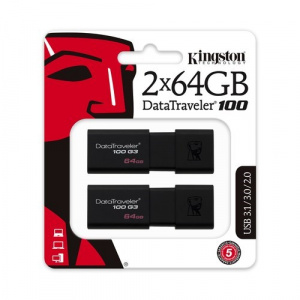 PEN DRIVE 64GB X 2 KINGSTON DATATRAVELER 100 G3 US 1