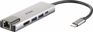 HUB D-LINK USB-C 5 EN 1 HDMI/ETH/USB3.0 1