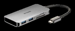 HUB USB-C D-LINK 6 EN 1 HDMI/LECTOR DE TARJETAS 1