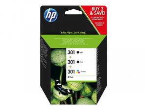 CARTUCHO HP 301  PACK-3  2 X NEGRO/ 1 X COLOR 1