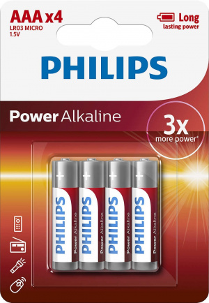 PILAS PHILIPS ALCALINA POWER AAA 1.5V PACK 4U 1
