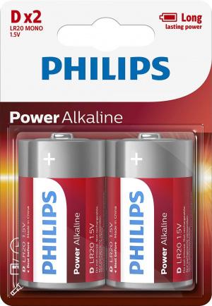 PILAS PHILIPS ALCALINA D/LR20 1.5V  PACK 2 1