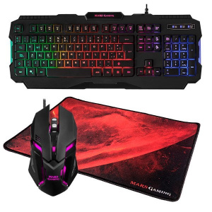 KIT TECLADO RATON Y ALFOMBRILLA MARS GAMING MCP118 1