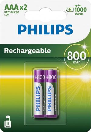 PILAS PHILIPS RECARGABLE R03B4A70 AAA 800MAH PACK2 1