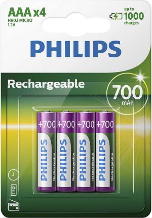 PILAS PHILIPS RECARGABLE R03B4A70 AAA 700MAH PACK4 1