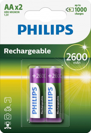 PILAS PHILIPS RECARGABLE R-6 2600MAH PACK 2 1