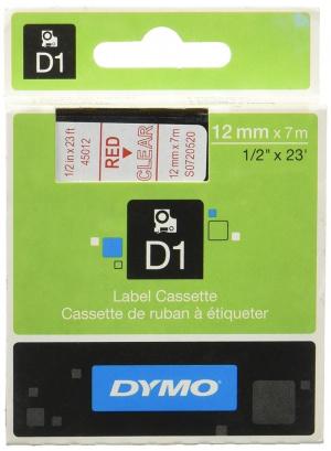 CINTA DYMO TT D1 45012 TRANSP/ROJO 12MMX7M POLIES 1