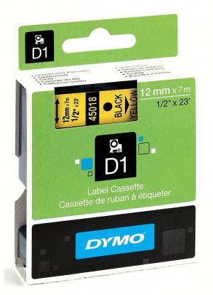 CINTA DYMO TT D1 45018 AMARIL/NEGRO 12MMX7M POLIES 1