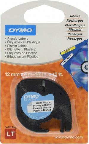 CINTA DYMO 91201 12MMX4M PLASTICO BLANCA LETRAGRAF 4