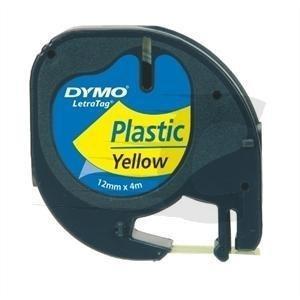 CINTA DYMO 91202 12MMX4M PLASTICO AMARILLA LETRAGR 1