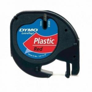 CINTA DYMO 91203 12MMX4M PLASTICO ROJO LETRAGRAF 1
