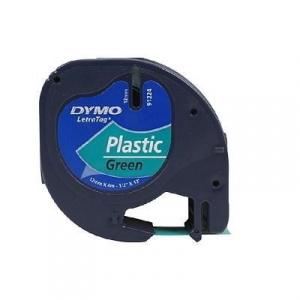 CINTA DYMO 91204 12MMX4M PLASTICO VERDE LETRAGRAF 1