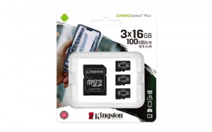 MEMORIA MICRO SD 16GB X 3 KINGSTON CLASE 10 UHS-I 1