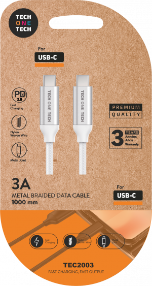 CABLE T1T PD 3.0 USB-C/USB-C 1M 3A BLANCO 1