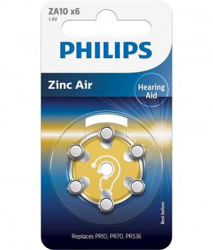 PILAS PHILIPS AUDIFONOS ZINC AIRE ZA10  PACK 6 1