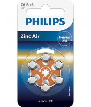 PILAS PHILIPS AUDIFONOS ZINC AIRE ZA13/PR48 PACK 6 1