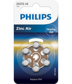 PILAS PHILIPS AUDIFONOS ZINC AIRE ZA312/PR41 PACK6 1
